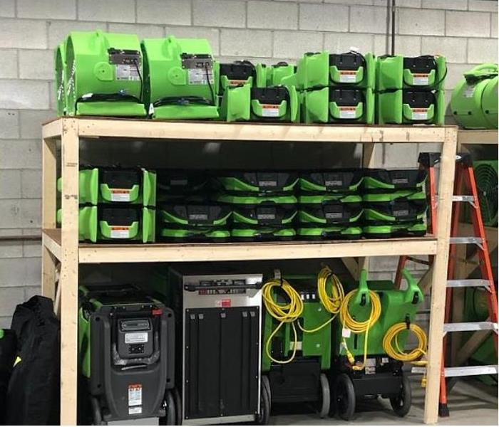 SERVPRO restoration equipment being stored at SERVPRO facility