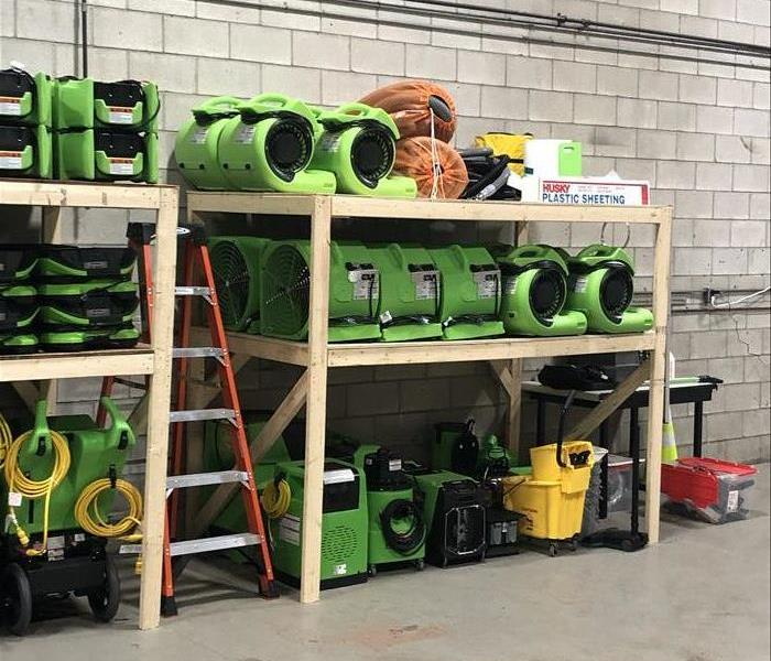 shelves in warehouse of drying equipment, air movers and more